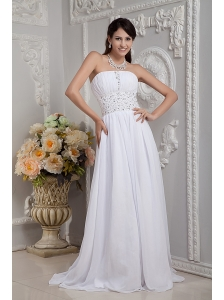 Sweet Empire Strapless Wedding Dress Chiffon Beading Brush Train