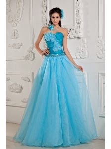 Teal Popular Prom Dress A-line / Princess Sweetheart Chiffon Beading Floor-length