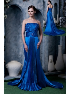 Unique Royal Blue Column Prom Dress Strapless Appliques With Beading Watteau Train Silk Like Satin