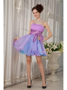 Colorful A-line / Princess Straps Cocktail Dress Organza Beading and Ruch Mini-length