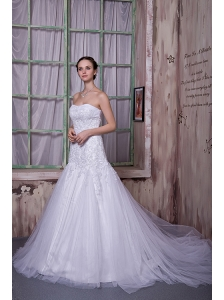 Custom Made A-line Strapless Wedding Dress Taffeta and Tulle Appliques Court Train