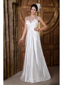 Custom Made Wedding Dress A-line V-neck Floor-length Elastic Woven Satin Beading