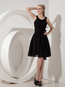 Customize Empire Scoop Little Black Dress Chiffon Hand Made Flower Knee-length