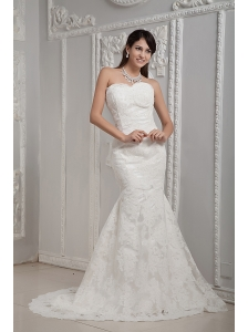 Luxurious Wedding Dress Mermaid Sweetheart Brush Train Satin Lace
