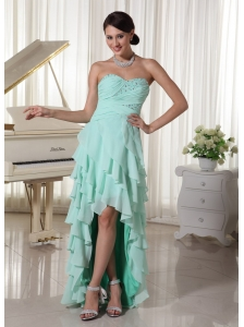 Apple Green Chiffon Layered High Low Prom Dress With Sweetheart Empire Beading and Ruch Decorate Up Bodice
