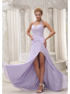 Beaded Decorate Halter Ruched Bodice Lilac High Slit Prom / Evening Dress Chiffon