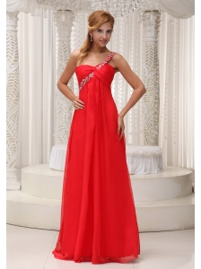 Beaded Decorate One Shoulder Red Chiffon Floor-length For 2013 Prom Dress