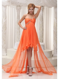 Beaded Decorate One Shoulder Ruched Bodice Orange Chiffon High-low A-line Prom / Homecoming Dress For 2013