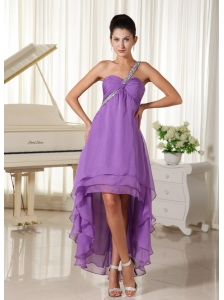 Beaded Decorate One Shoulder For 2013 High-low Prom Dress Chiffon In Virginia