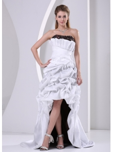Custom Made Beaded and Pick-ups High-low Prom Dress With Brush Train Taffeta