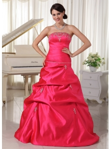 Custom Made Taffeta Coral Red A-line Appliques With Beading Plus Size Prom Dress With Pick-ups