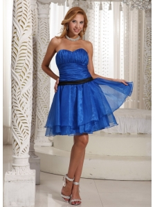 Design Own Plus Size Prom Dress Ruched Bodice With Sweethart Peacock Blue Mini-length