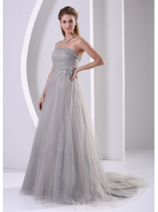 Grey Tulle A-line Strapless Beaded Simple Plus Size Prom Dress With Sweep Train