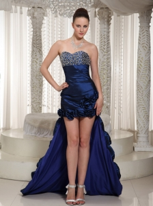High-low Prom Dress Taffeta Sweetheart Beading Flower Decorate For Evening Party