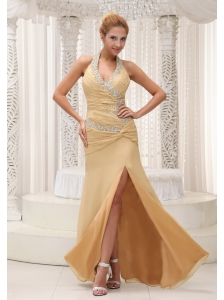 High Slit Beaded Decorate Halter Ruched Bodice Custom Made Champagne Prom / Evening Dress For 2013