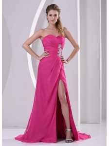 High Slit Hot Pink Sweetheart Stylish Prom Celebrity Dress Appliques and Ruch
