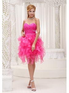 Hot Pink A-line Prom / Cocktail Dress For 2013 Beaded Decorate Bust Organza With Ruffles