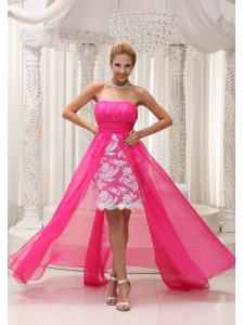 Hot Pink High-low Prom Dress For 2013 Ruched Bodice Chiffon Strapless Lace
