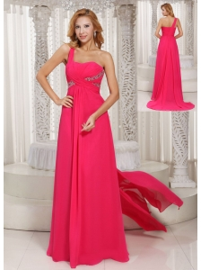 One Shoulder Ruched Bodice Customize Prom Dress With Beading Chiffon Watteau Train