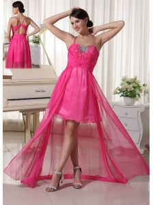 Hot Pink Spaghetti Straps Beaded High-low Prom / Homecoming Dress Chiffon