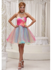 Lovely Ombre Color Prom Dress For 2013 Organza With Hand Made Flower Sweetheart Ruched Bodice