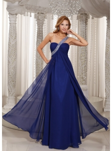 One Shoulder Navy Blue Empire With Beading Celebrity Dress For Formal Evening