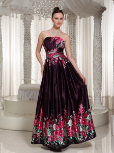 Printing Prom Dress For Formal With Strapless Neckline Ankle Length In 2013