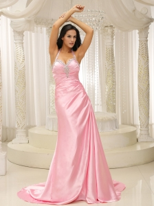 Rose Pink Halter Top Ruched Bodice For 2013 Prom Dress Brush Train In Kansas