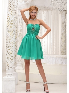 Ruched Bodice and Beaded Decorate Bust Simple Green Chiffon Gown For 2013 Prom Dress