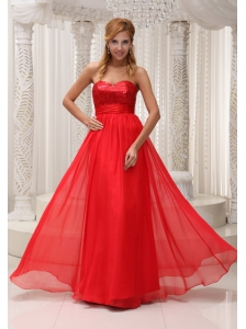 Sequined Up Bodice Sweetheart Neckline Red Chiffon and Floor-length Prom / Evening Dress For 2013