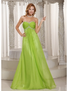 Spring Green Sweetheart Beading and Ruch Popular Prom Dress Party Style