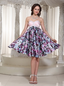 Sweetheart A-line Printing Homecoming Dress With Beading In Store