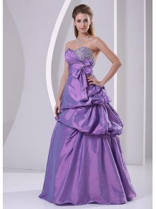 Sweetheart Beaded Pick-ups and Bowknot Purple Plus Size Prom Dress A-line