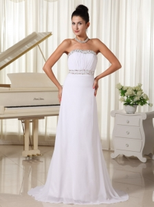 White Prom Dress And Gown Strapless Beaded Decorata Bust Brush Train Skirt