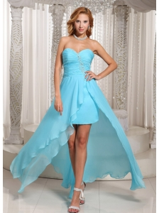 Wholesale Aqua Blue High-low Sweetheart Prom Dress For Evening Beading and Ruches