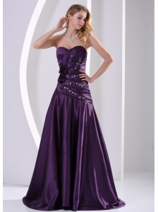 A-line Hand Made Flowers Beading and Ruch Prom Graduation Dress Eggplant Purple Taffeta