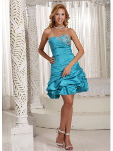 A-line Strapless Beaded Decorate Bust With Pick-ups Prom Dress Turquoise Blue Taffeta