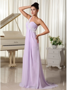 Appliques Decorate One Shoulder Lilac Brush Train For 2013 Prom Dress