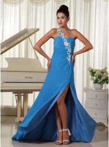 Appliques Decorate One Shoulder Sky Blue High Slit Prom Dress Brush Train