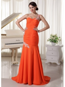 Appliques One Shoulder Chiffon Orange Red Sheath Prom Dress For Formal Evening Brush Train