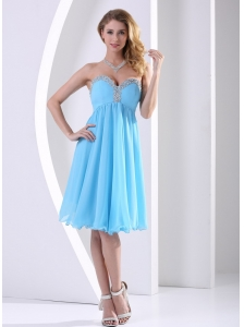 Aqua Blue Chiffon Sweetheart Beaded 2013 Modest Dress A-line Knee-length