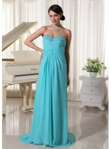 Aqua Blue Ruch Sweetheart Beaded Prom Dress With Brush Train Chiffon