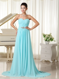 Aqua Blue Ruches Bodice Elegant Prom Dress Chiffon Brush Train For Custom Made