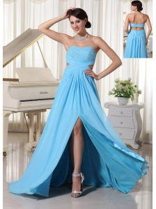 Aqua Blue Sweetheart High Slit Beaded Decorate Bust Prom Dress For Custom Made Chiffon Brush Train