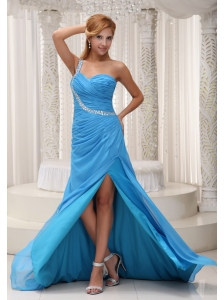 Baby Blue One Shoulder Prom / Evening Dress For 2013 Brush Train Chiffon Beading