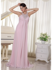 Baby Pink Halter Beaded Chiffon 2013 Prom Dress With Brush Train