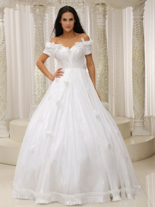 Ball Gown and Off The Shoulder Wedding Dress Appliques Customize For Church