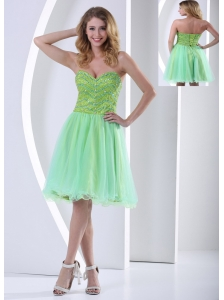 Beaded Decorate Bust Yellow Green Sweetheart Knee-length Cocktail Dress With Organza In 2013