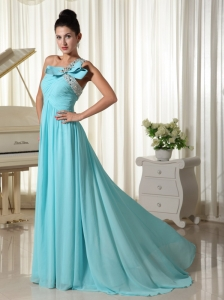 Beaded Decorate One Shoulder With Ruched Bodice Inexpensive Prom Dress