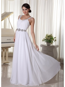Beaded Decorate Straps and Waist White Chiffon Empire Prom Dress For Foramal Evening